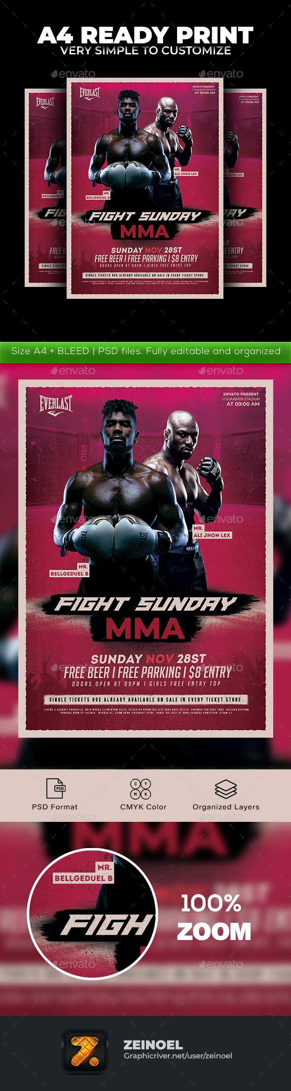 Fight Sunday MMA Flyer - Sports Events
