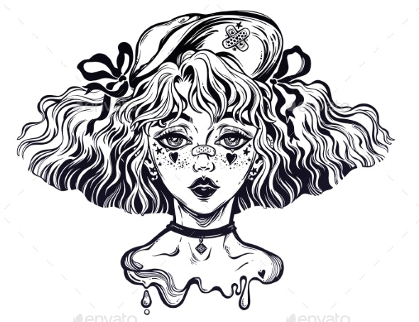 Girl with Wavy Hairstyle - People Characters
