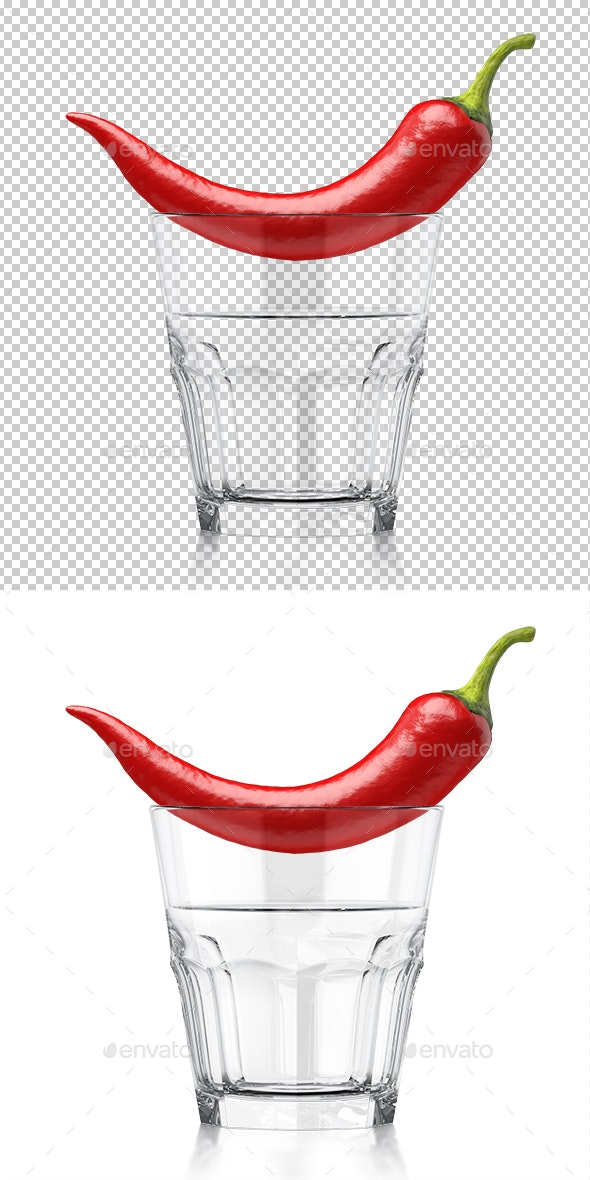 Whiskey Clear Glass with Red Chilli - Objects 3D Renders
