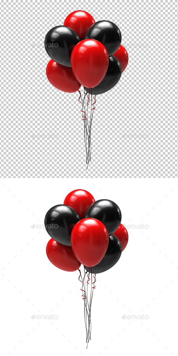 Balloons Red and Black - Objects 3D Renders