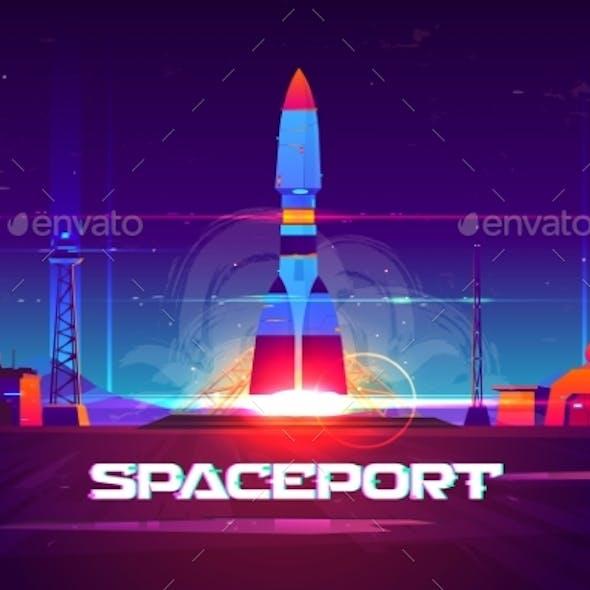 Rocketship Launching From Spaceport Cartoon Vector