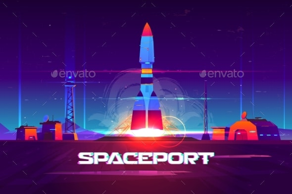 Rocketship Launching From Spaceport Cartoon Vector - Technology Conceptual