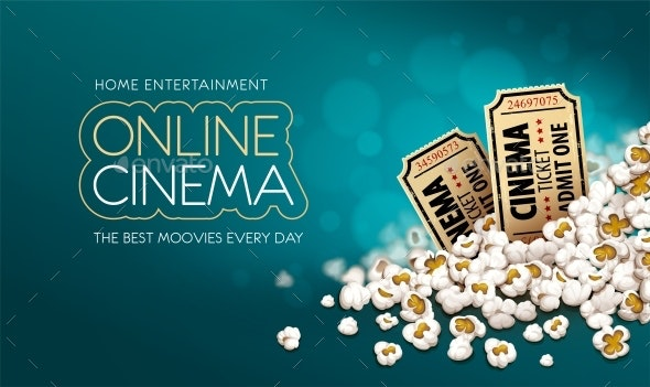 Gold Cinema Tickets in Popcorn - Miscellaneous Vectors