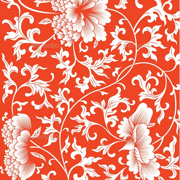 Pattern on Red Background with Chinese Flowers - Backgrounds Decorative