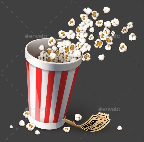 Popcorn in Paper Bucket - Food Objects