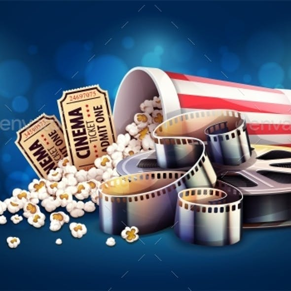 Online Cinema Art Movie Watching with Popcorn and Tickets