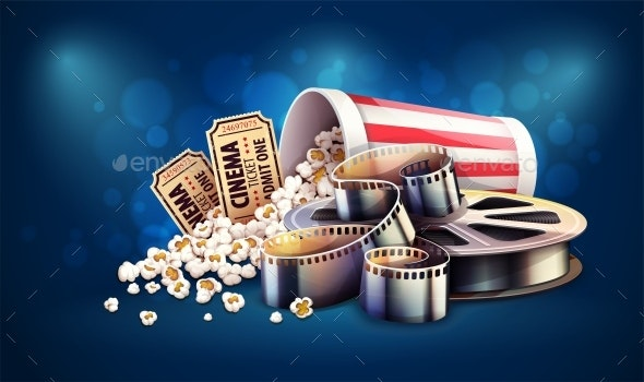 Online Cinema Art Movie Watching with Popcorn and Tickets - Backgrounds Decorative