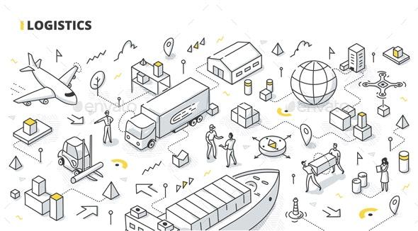 Logistics Isometric Doodle - Concepts Business