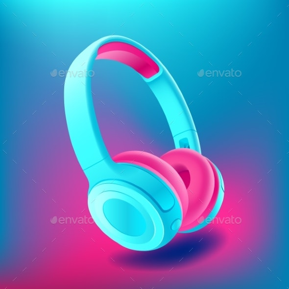 Blue and Pink Headphones Isolated on Blue - Abstract Conceptual