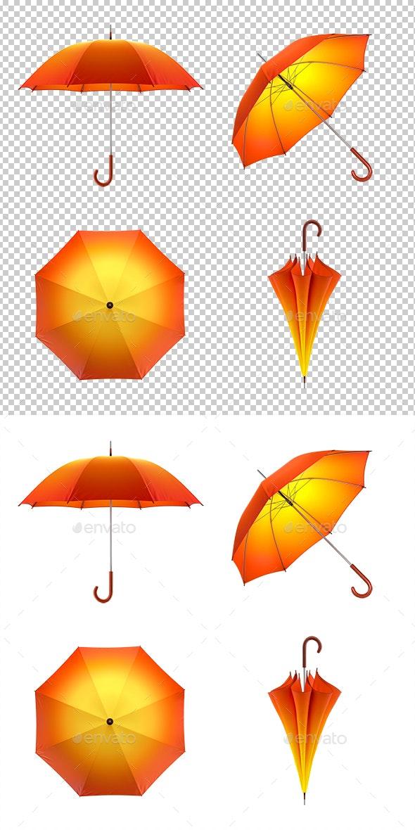 Autumn Umbrella Set - Objects 3D Renders