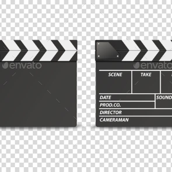 Vector Realistic Closed Movie Film Clap Board