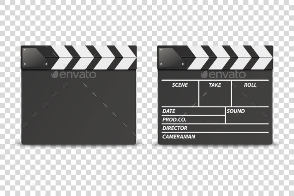 Vector Realistic Closed Movie Film Clap Board - Man-made Objects Objects