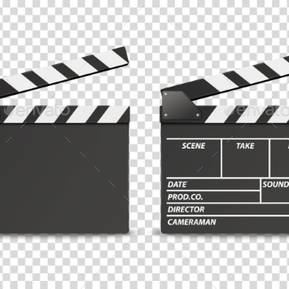 Vector Realistic Opened Movie Film Clap Board