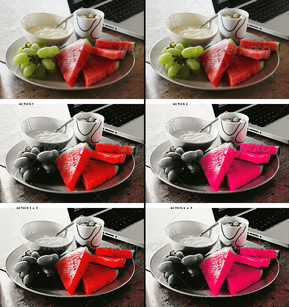 Black & White With Red or Pink + Paint Action - Photo Effects Actions