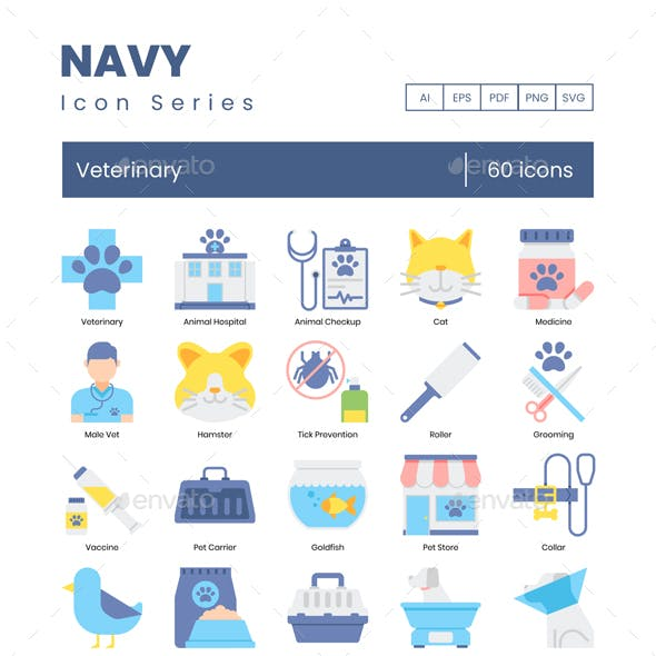 Veterinary Icons – Navy Series