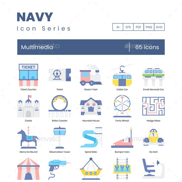 Theme Park Icons – Navy Series