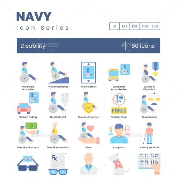 Disability Icons – Navy Series