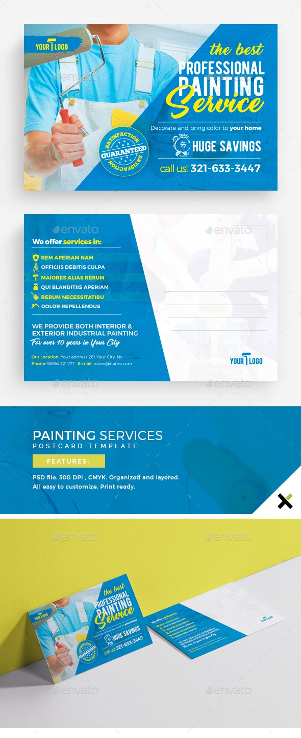 Painting Services Postcard Template - Cards & Invites Print Templates