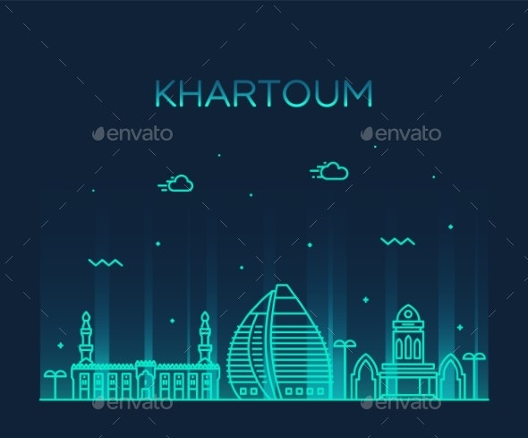 Khartoum Skyline Sudan Vector Big City Line Style - Buildings Objects