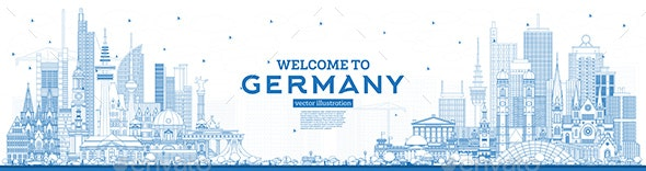 Outline Welcome to Germany Skyline with Blue Buildings. - Buildings Objects