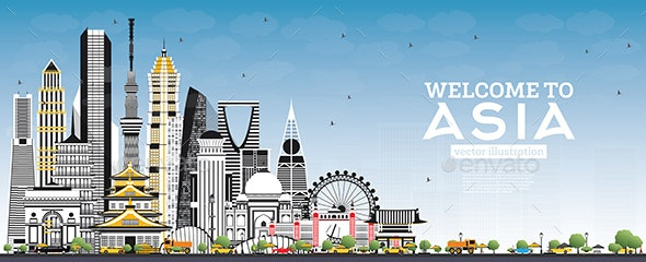 Welcome to Asia Skyline with Gray Buildings and Blue Sky. - Buildings Objects