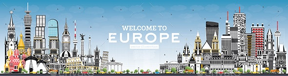 Welcome to Europe Skyline with Gray Buildings and Blue Sky. - Buildings Objects