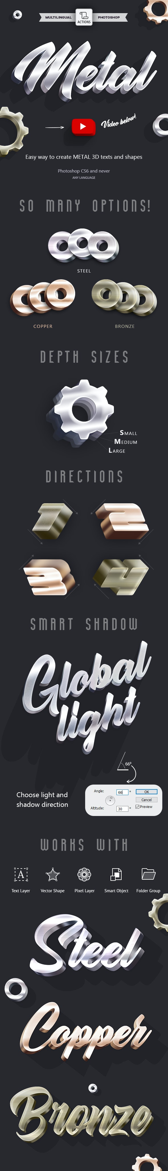 3D Metal - Photoshop Action - Text Effects Actions
