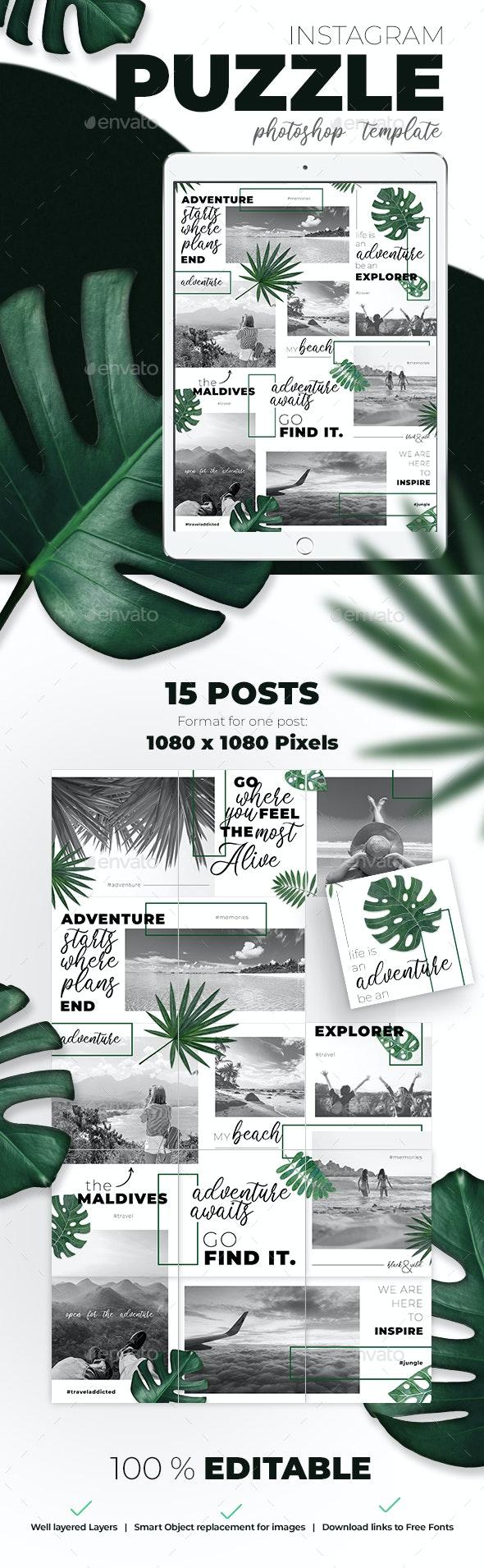 Instagram Puzzle / Grid Template - Social Media Web Elements