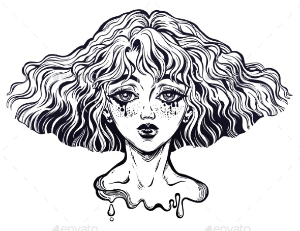 Portrait of the Crying Girl with Wavy Hairstyle - People Characters