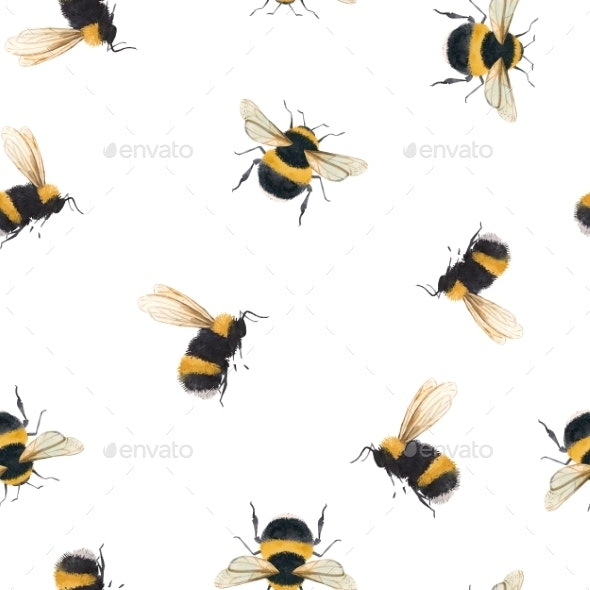 Watercolor Bumblebee Pattern - Miscellaneous Illustrations