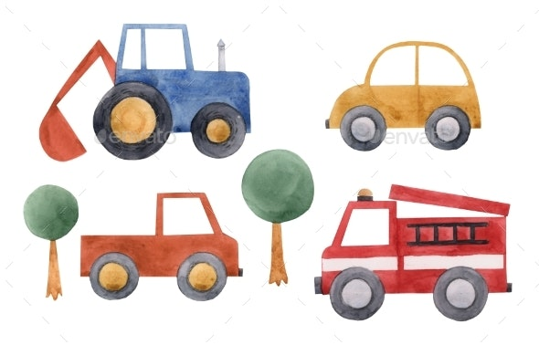 Watercolor Baby Cars Set - Miscellaneous Illustrations