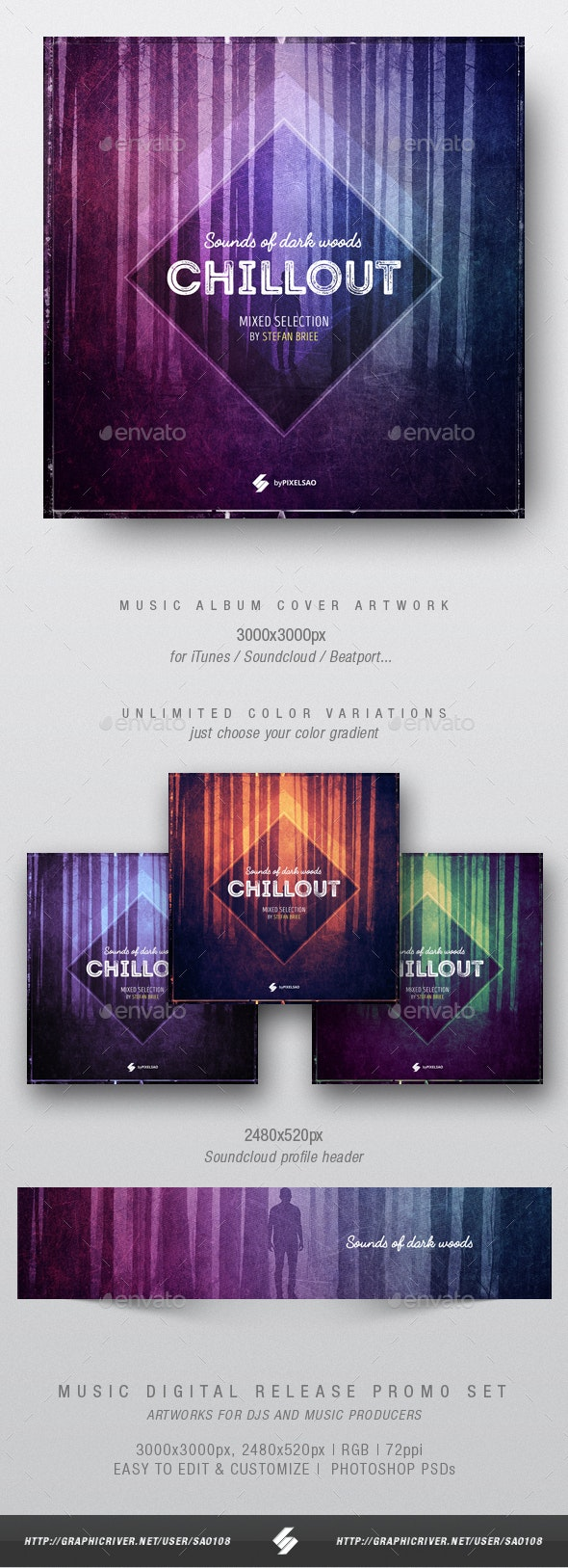 Sounds of Dark Woods - Music Album Cover Template - Miscellaneous Social Media