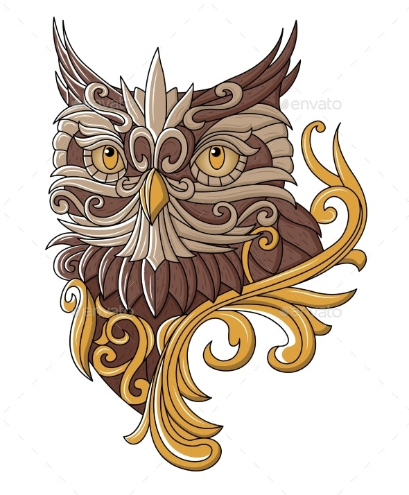 Old Owl Depicted in Vintage Style, Vector - Animals Characters
