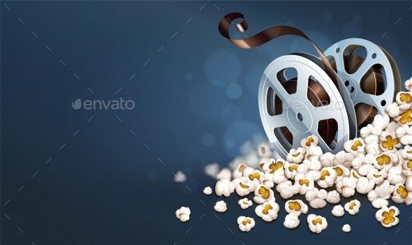 Cinematograpy Film-reel Discs in Popcorn. Online Movie Banner. - Vectors