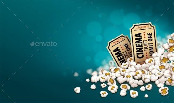Gold Cinema Tickets in Popcorn. Online Movie Banner. Vector. - Vectors