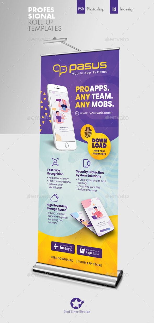 Mobile App Roll-Up Templates - Signage Print Templates