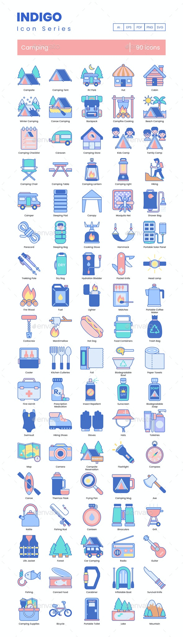 Camping Icons - Indigo Series - Objects Icons
