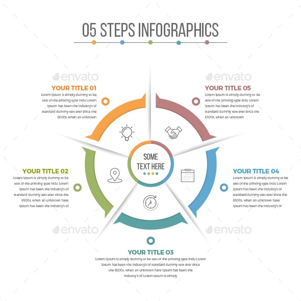 Business Circle Infographics with 05 Steps - Infographics
