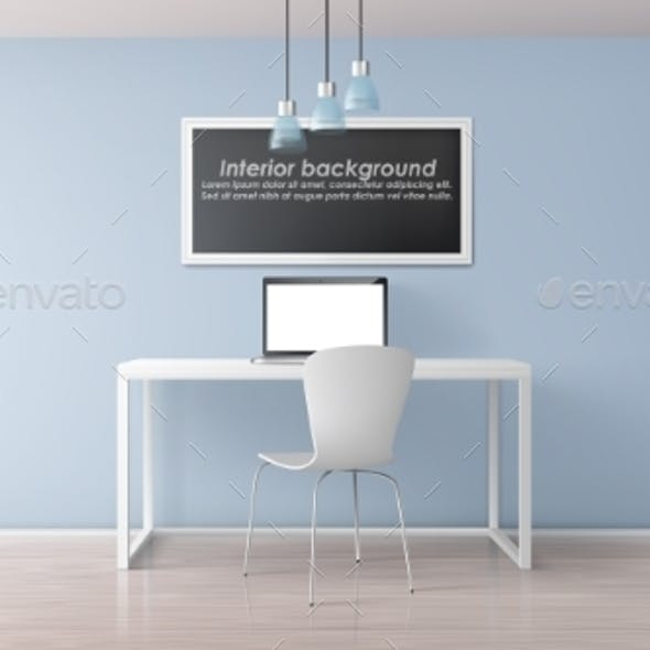Home Office Workplace Realistic Vector Mockup