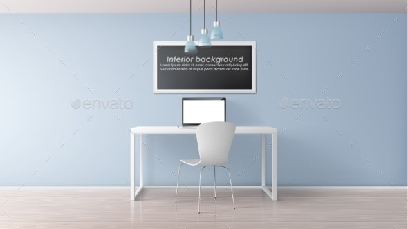 Home Office Workplace Realistic Vector Mockup - Miscellaneous Illustrations