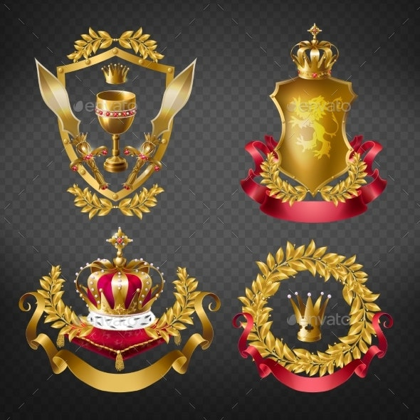 Heraldic Royal Emblems with Golden Monarch Crowns - Objects Vectors