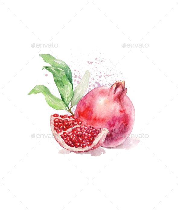 Watercolor Ripe Bright Pomegranate - Illustrations Graphics