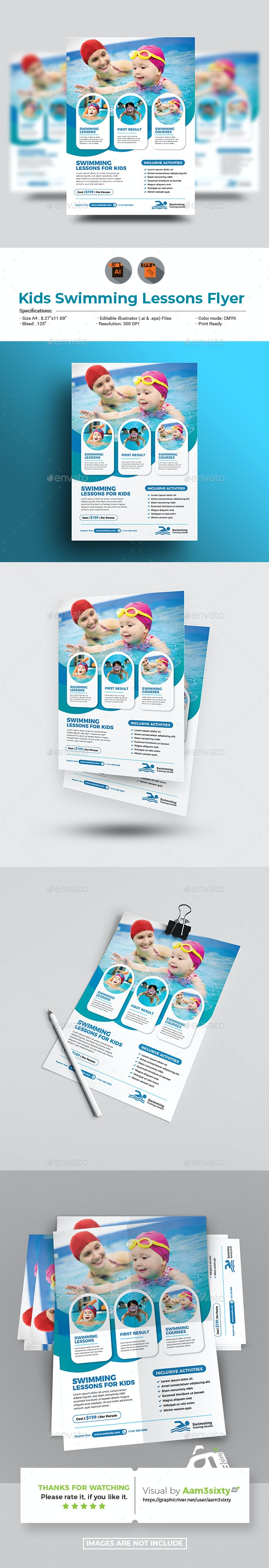 Kids Swimming Training Flyer Template - Sports Events