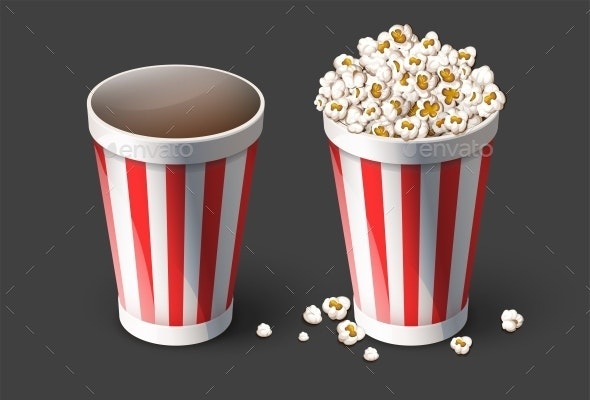 Popcorn in Paper Bucket. Empty and Full Cups. Vector. - Vectors