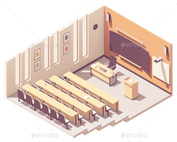 Vector Isometric University Lecture Hall - Buildings Objects