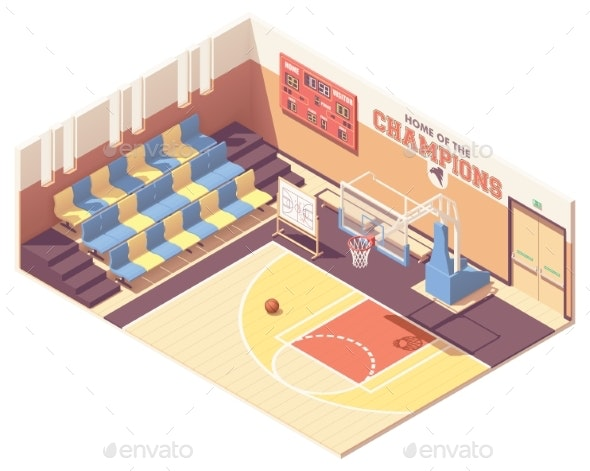 Vector Isometric Gymnasium Basketball Court - Buildings Objects