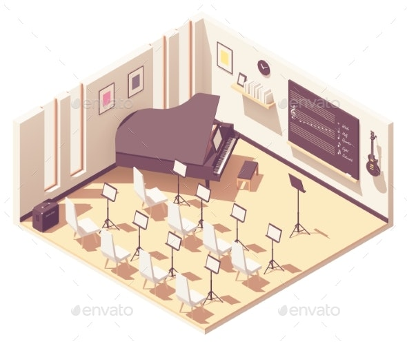 Vector Isometric School Music Classroom - Buildings Objects