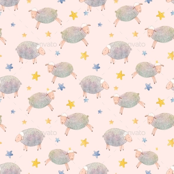 Watercolor Sheep Pattern - Miscellaneous Illustrations
