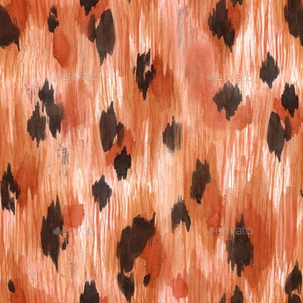 Watercolor Leopard Jaguar Texture Pattern - Miscellaneous Illustrations