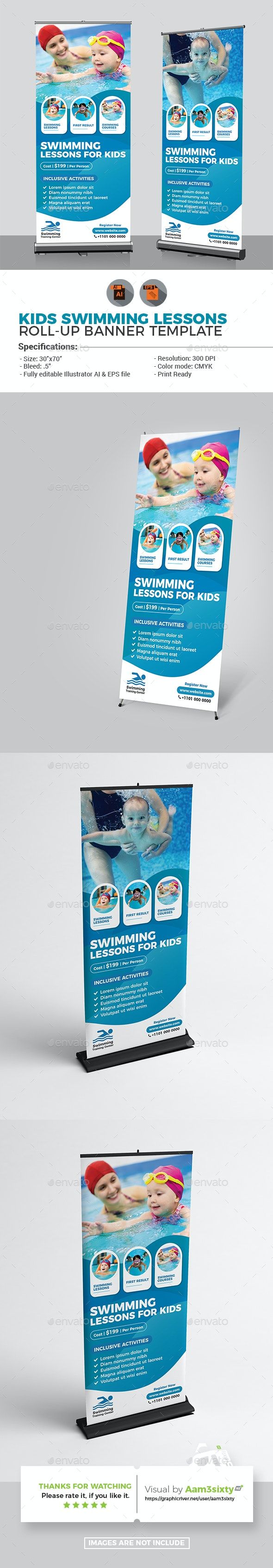 Kids Swimming Lessons Rollup Banner - Signage Print Templates